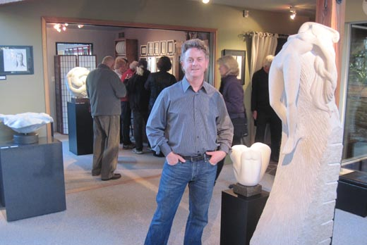 Michael Binkley standing in his Gallery