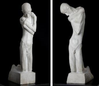George Minne marble sculptures of kneeling youths