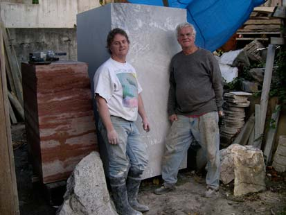 Michael Binkley and Ross Binkley with Carrara marble block