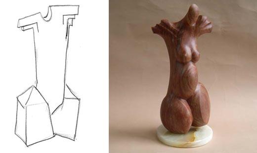 Michael Binkley Female torso stone sculpture