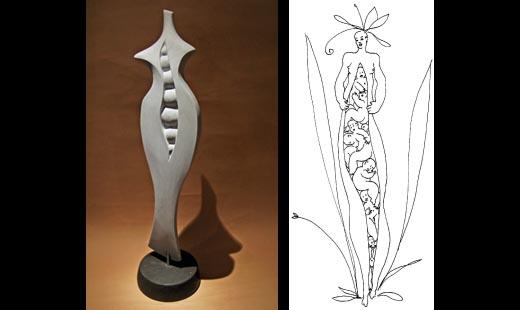 Michael Binkley marble female torso sculpture