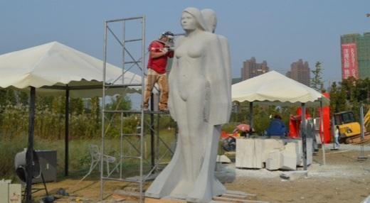 Michael Binkley sculptor in stone changsha international sculpture festival