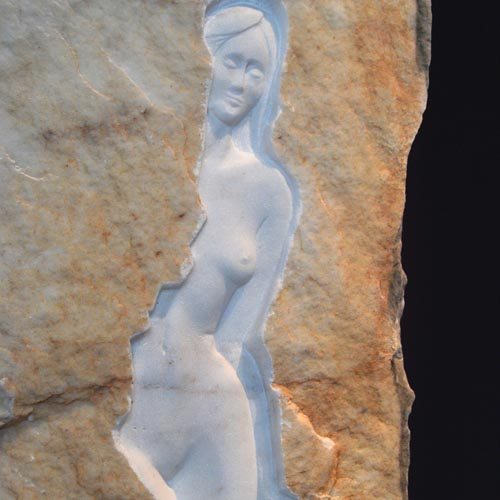 michael binkley sculptor stone sculpture female nude relief carving fine art carrara marble vancouver canada