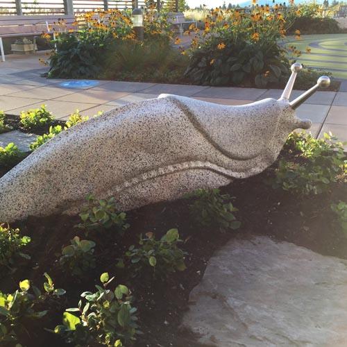michael binkley sculptor stone sculpture artist banana slug whimsical granite statue vancouver canada