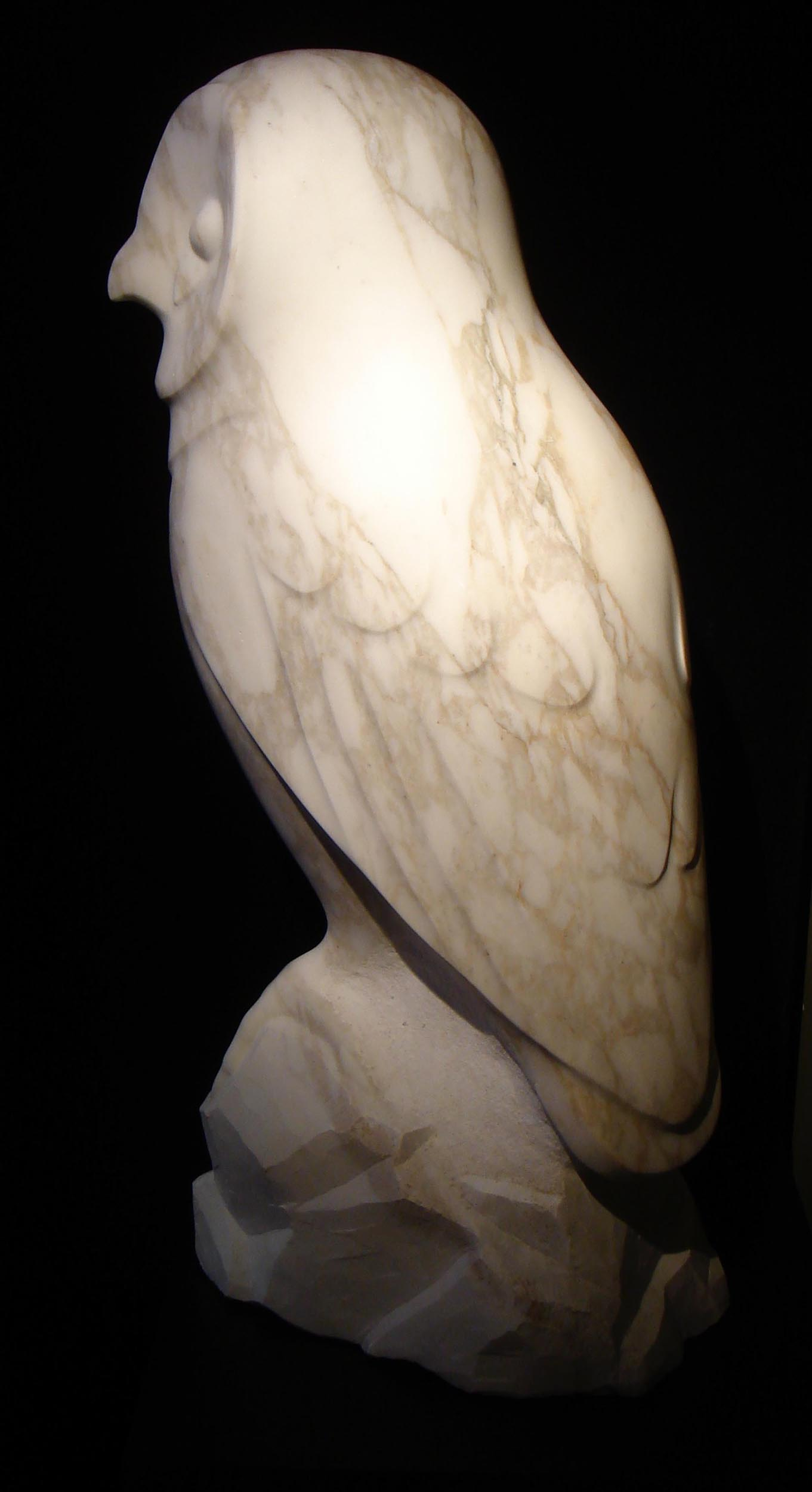 michael binkley sculptor stone sculpture artist barn owl wildlife marble statue vancouver canada
