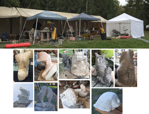 Michael binkley sculptor in stone teaching stone carving at shuswap school of carving and arts sorrento bc canada
