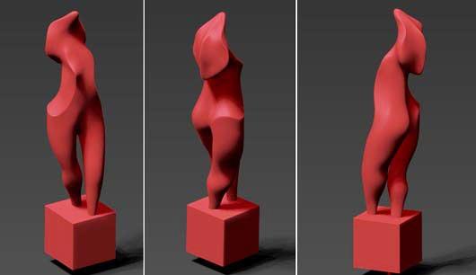 michael binkley sculptor stone sculpture metal steel 3d print female torso